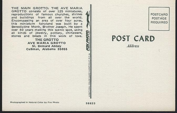 Vintage Unused Postcard Main Grotto, Ave Maria Grotto, Cullman, Alabama