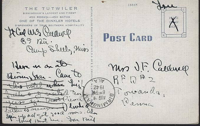 Vintage Postcard of The Tutwiler, Birmingham, Alabama 1942 Free Military Stamp