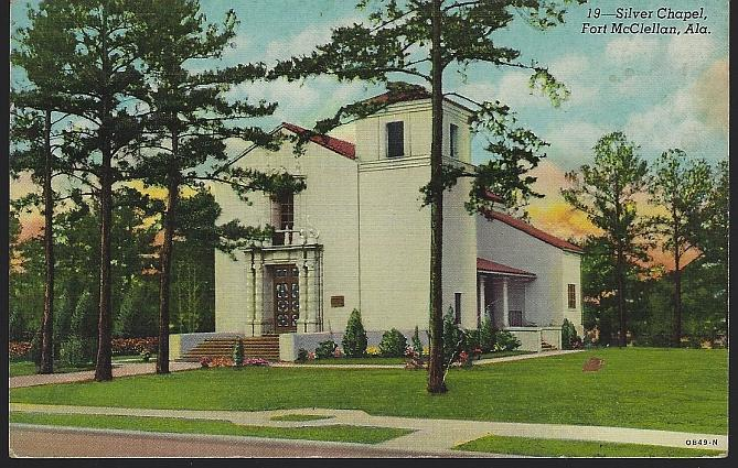 Vintage Unused Postcard of Silver Chapel, Fort Mcclellan, Alabama