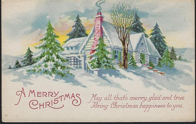 Vintage Unused Merry Christmas Postcard with Snowy House Glad and True