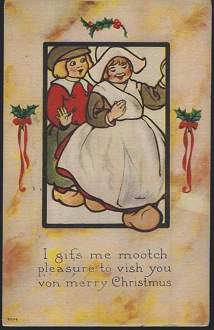 Merry Christmas In Dutch.Vintage Christmas Postcard Dutch Couple To Vish You Von Merry Christma
