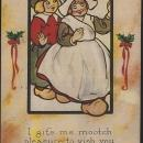 Vintage Christmas Postcard Dutch Couple to vish you von Merry Christmas 1914