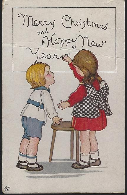 Vintage Merry Christmas and Happy New Year Postcard with Cute Children 1917