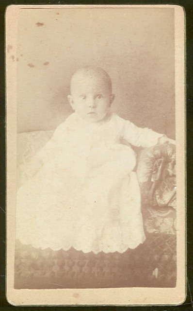 Vintage Cabinet Card Photograph of Baby on Couch