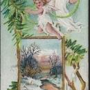 Vintage Christmas Greetings Postcard with Angels and Snowy Landscape 1911