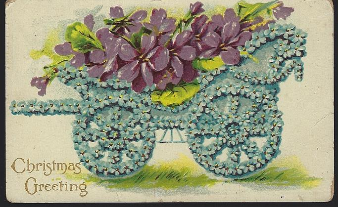 Vintage Christmas Greetings Postcard with Floral Cart Filled Violets