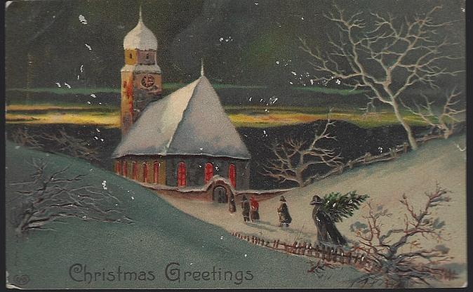 Vintage Christmas Greetings Postcard with People Walking to Snowy Church 1910