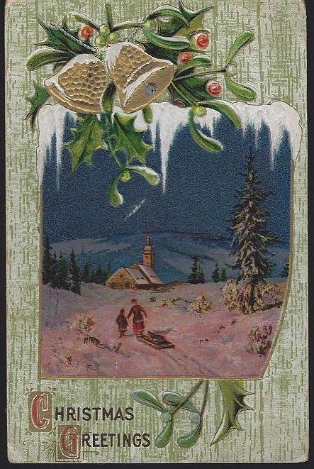 Vintage Christmas Greetings Postcard with Two People Sledding to Snowy Church