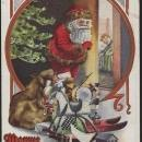 Vintage  Merry Xmas Postcard with Santa Claus Leaving Toys Under the Tree