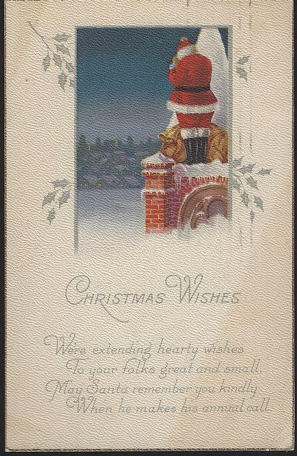 Vintage Christmas Wishes Postcard with Santa Claus Standing on Roof 1922