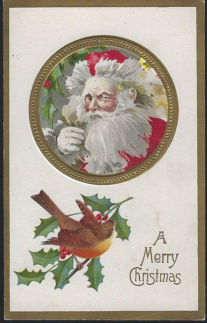 Vintage Merry Christmas Postcard Wind Blown Santa Claus and Bird on Holly