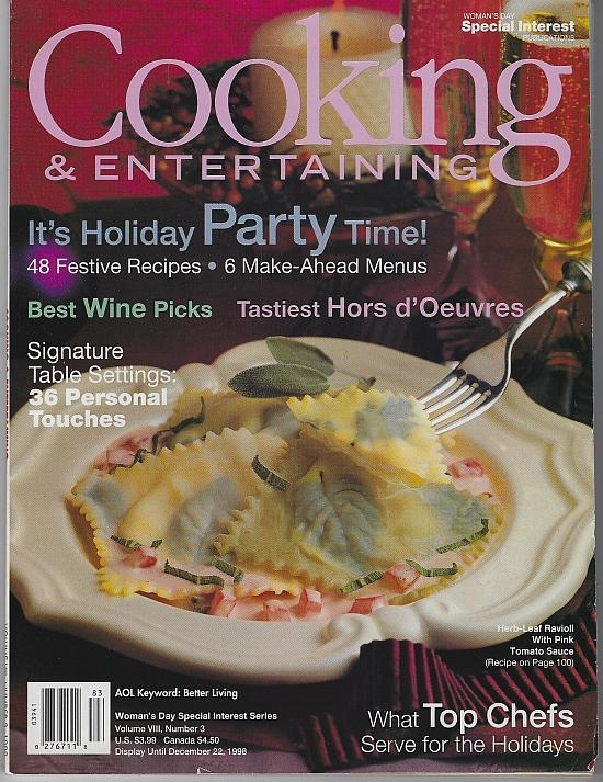 Woman's Day Cooking and Entertaining December 1998 Entertaining/Chocolate/Meals