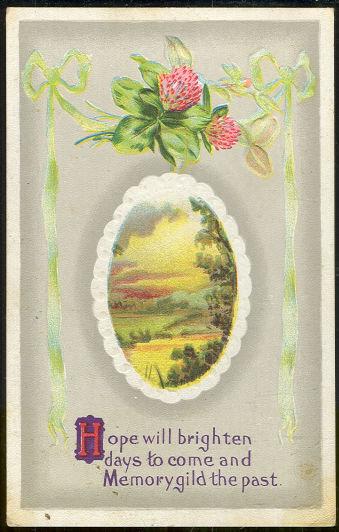 Greetings Postcard Pastoral Scene Hope Will Brighten