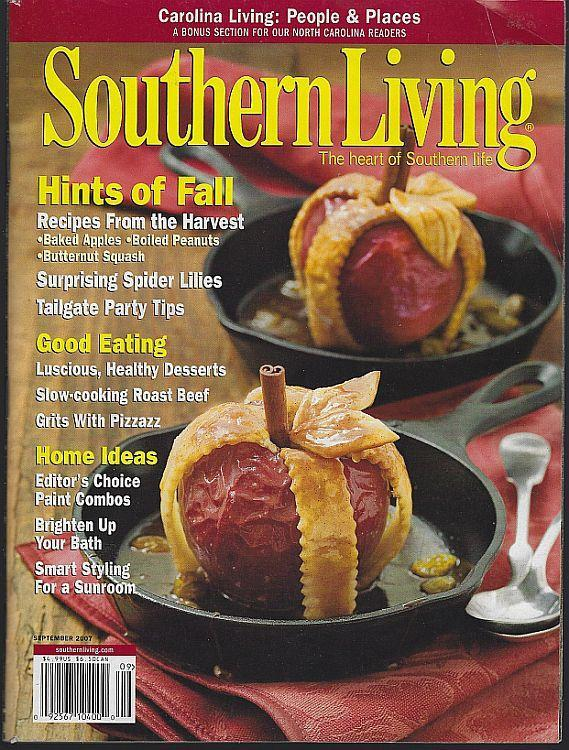 Southern Living Magazine September 2007 Hints of Fall Cover/Tailgating/Carolina