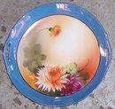 Handpainted Noritake Blue Lustre Serving Plate Flowers