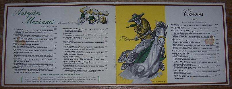 Vintage Menu from Cafe la Margarita, 868 North Wabash, Chicago, Illinois