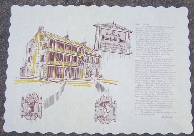 Vintage Luncheon Menu and Place Mat Historic Fairfield Inn, Fairfield, Pennsylvania