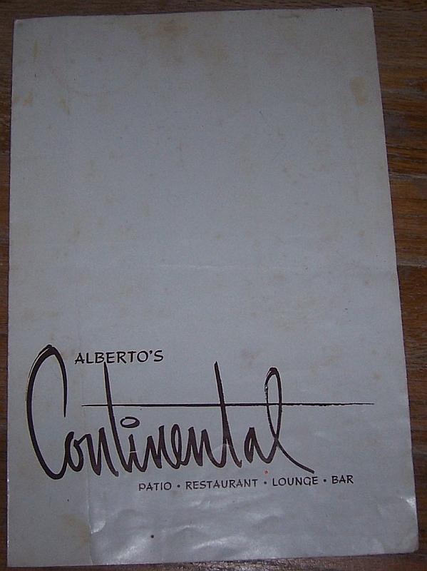Vintage Menu from Alberto's Continental Restaurant Merida, Yucatan, Mexico