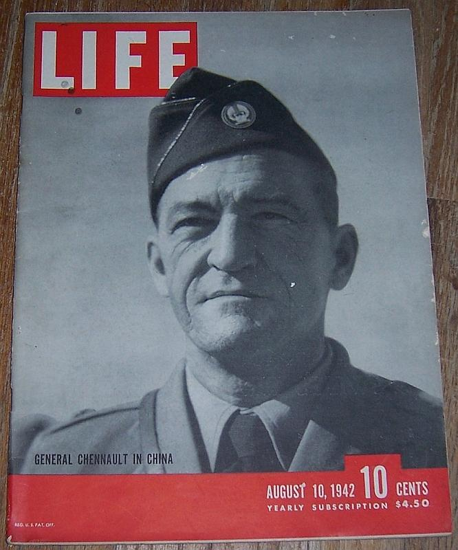 Life Magazine August 10, 1942 General Chennault in China Cover/George Rodger
