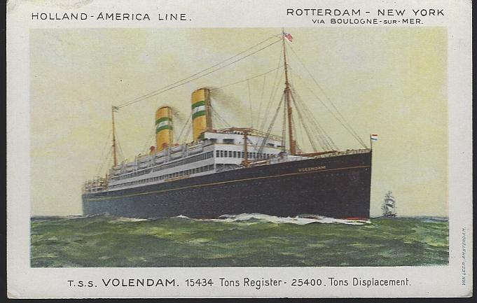 Unused Postcard of T. S. S. Volendam, Rotterdam-New York, Holland-America Line