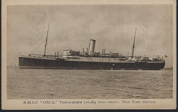Unused Royal Mail Postcard of R. M. S. P. Orca Triple Screw, New York Service