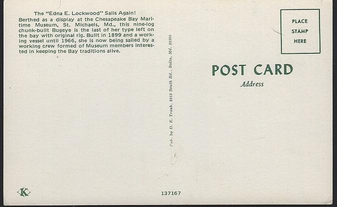 Unused Postcard of Edna E. Lockwood Sailing Again Chesapeake Bay Maritime Museum