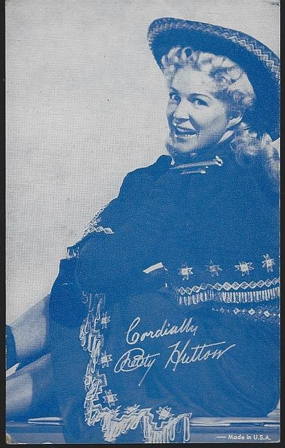 Vintage Blue Cowgirl Arcade Card of Actress Betty Hutton