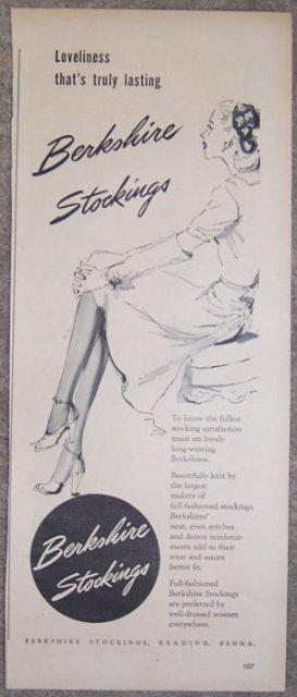 1944 Berkshire Stockings WW II Magazine Advertisement