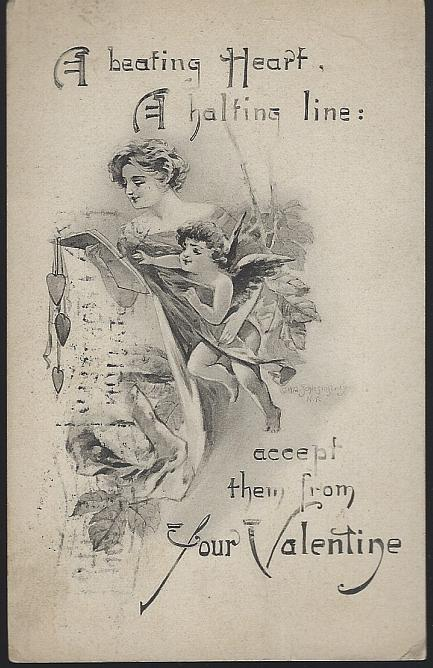 Vintage Valentine Postcard with Lovely Lady and Cupid A Beating Heart 1916