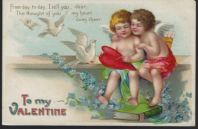 Vintage To My Valentine Postcard with Two Cupids The Thought of You Does Cheer