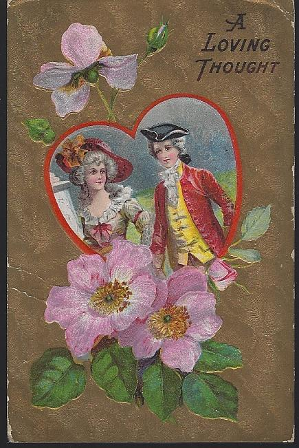 Vintage Postcard of Colonial Couple Heart Surrounded by Flowers A Loving Thought