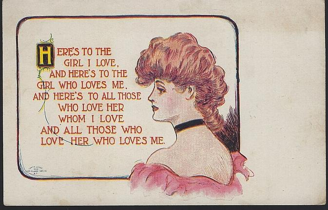 Vintage Unused Lou Mayer Postcard with Lovely Lady The Girl I Love Who Loves Me