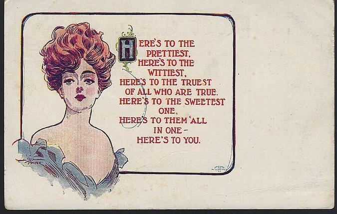 Vintage Unused Lou Mayer Postcard with Lovely Lady, The Prettiest, The Wittiest
