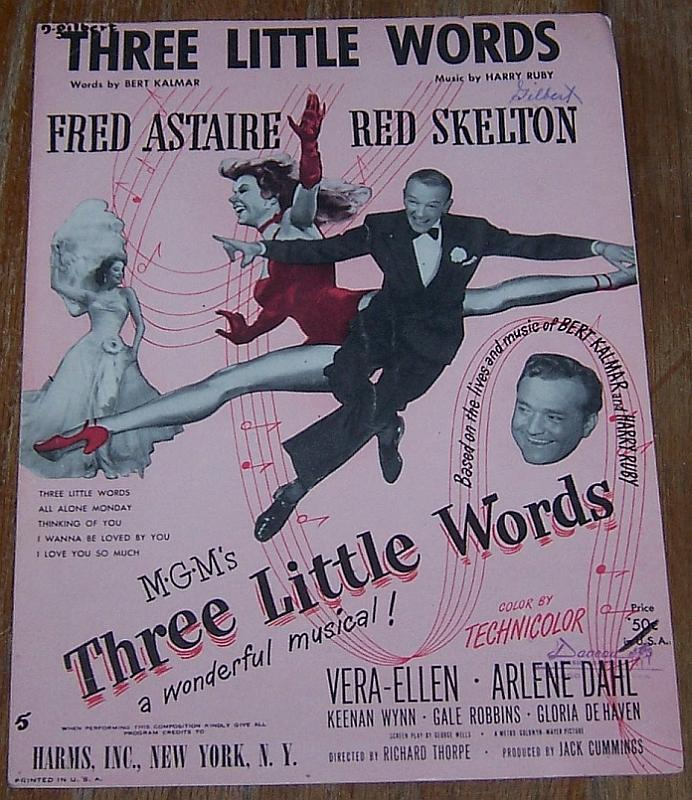 Three Little Words From the Movie Starring Fred Astaire Vera-Ellen 1930 Music
