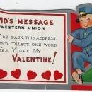 Vintage Valentine Card with Cupid's Western Union Little Boy Wire Back Collect