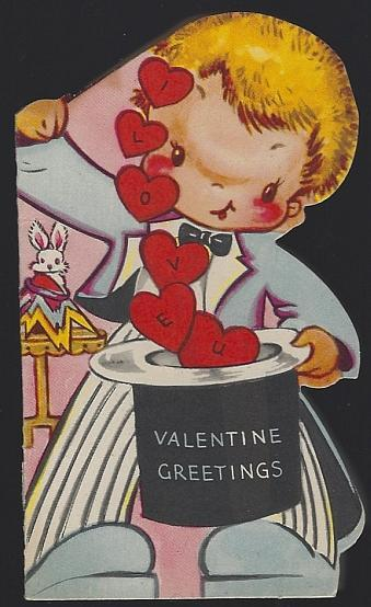 Vintage Valentine Greetings Card with Little Boy Magician I Don't Need Magic