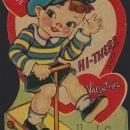 Vintage Valentine Card with Little Boy on Scooter Hi-there Valentine Here I Come