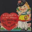 Vintage Valentine Card with Little Girl and Heart Accordin To My Heart Be Mine