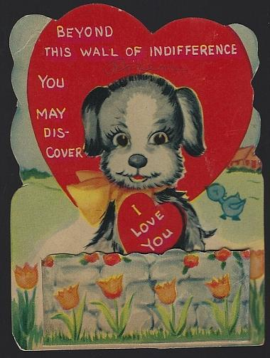 Vintage Valentine Card with Dog Behind Garden Wall of Indifference I Love You