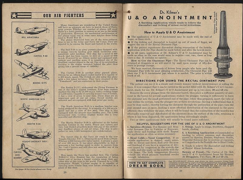 Swamp-Root Almanac 1942 Weather Predictions, Horoscopes, Dream Book, Facts