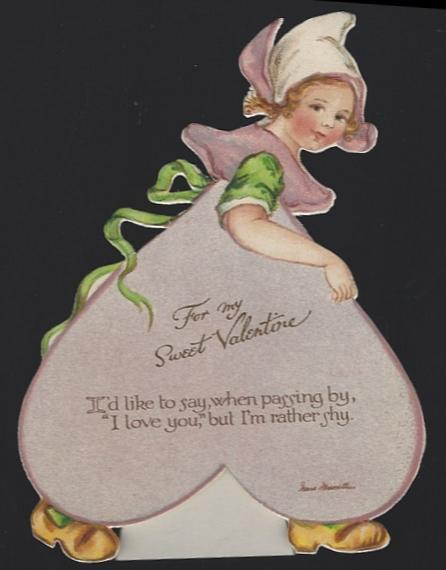 Vintage Easel Valentine Card with Little Dutch Girl For My Sweet Valentine