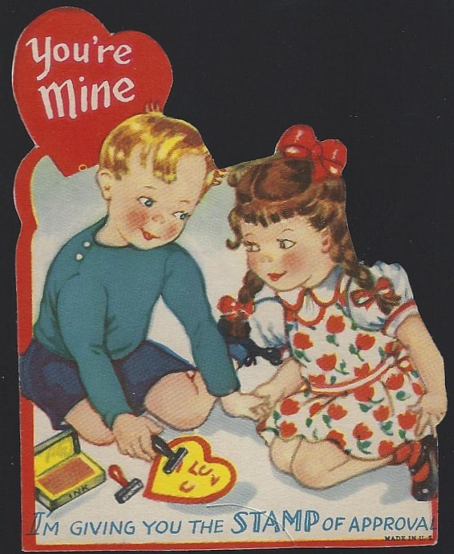 Vintage Valentine Card with Boy and Girl and Rubber Stamps You're Mine