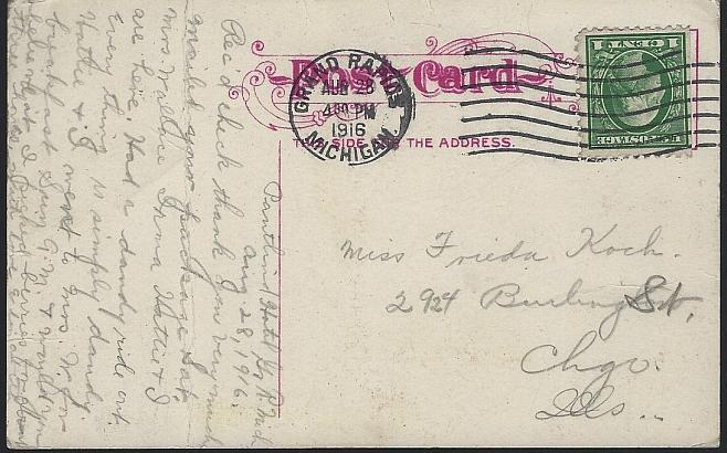 Vintage Postcard Recreation Park, Muskegon, Michigan Grand Dad Whiskey Scorboard