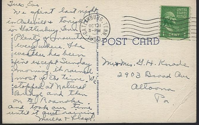 Vintage Postcard of Mountain View Hotel, Gatlinburg, Tennessee 1950