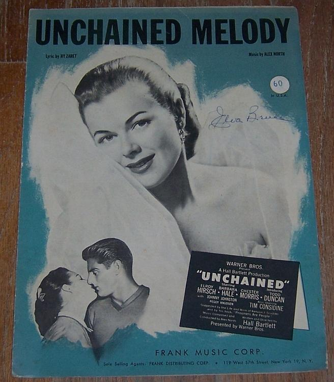Unchained Melody From Unchained Elroy Hirsch/Barbara Hale 1955 Sheet Music