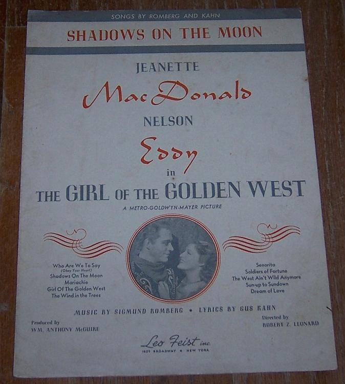 Shadows on the Moon Jeannette MacDonald/Nelson Eddy 1938 Movie Sheet Music