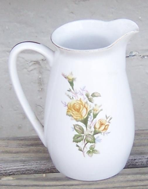 Vintage China Small Pitcher with Yellow Rose Design and Gold Trim