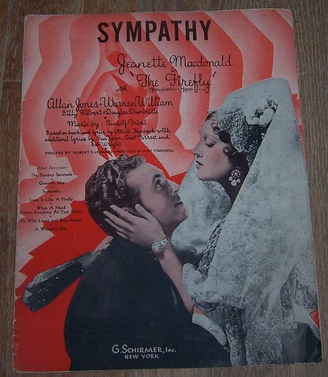 Sympathy From Movie Firefly Jeanette MacDonald/Allan Jones 1937 Sheet Music