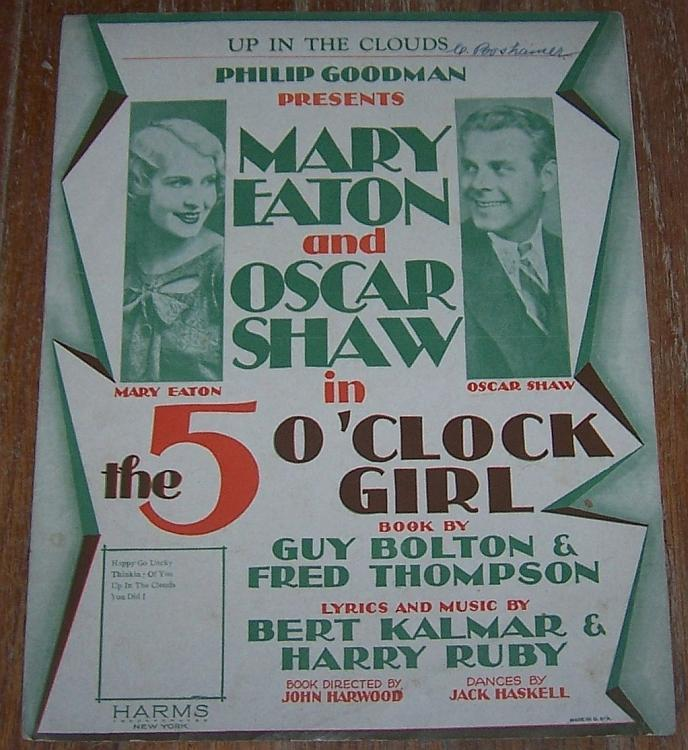 Up in the Clouds Sheet Music From Play 5 O'Clock Girl Mary Eaton/Oscar Shaw 1927