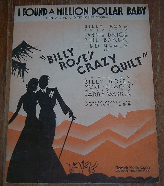 I Found a Million Dollar Baby Sheet Music From Musical Crazy Quilt Fanny Brice